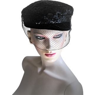 1950's Hollywood Style Black Velvet and Sequin Pill Box Hat.