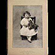 Cabinet Card Photograph- Little Girl From Cincinnati Holds Her Teddy Bear.