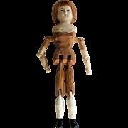 Composition Shoulder Head Wooden Jointed Peg Doll.