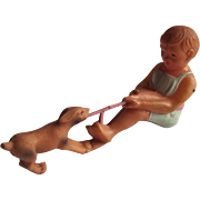 Viscoloid Celluloid Rare Baby Rattle- Boy Plays Tug Of War With Dog.