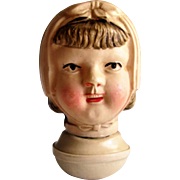 1930s Celluloid Roly Poly Baby Rattle -Little Girl In Bonnet.