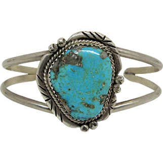 Native American Indian Sterling Silver and Kingman Turquoise Cuff Bracelet.