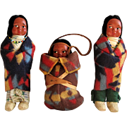 A family of Three Native American Indian Themed Skookum Dolls. - Red Tag Sale Item