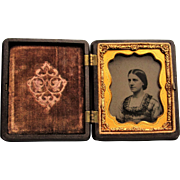 Thermoplastic Union Case With Ambrotype Of Young Lady. 9th Plate