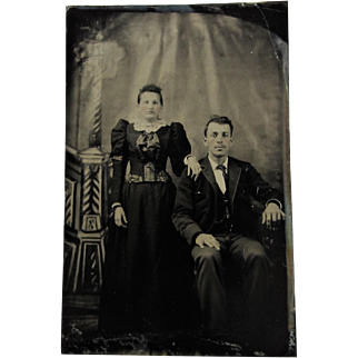 Tintype Photograph Man and Woman-She Has Strabismus { crossed Eyes}.