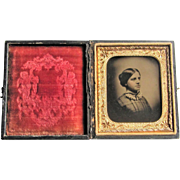 Ambrotype Vignette Of Young Woman In Leather Embossed Case- 9th Plate.