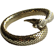 Whiting & Davis Mid Century Gold Mesh Coil Snake Bracelet -Egyptian Revival Jewelry