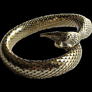 Mid Century Gold Mesh Coil Snake Bracelet -Egyptian Revival Jewelry