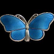 Sterling Silver Blue Enamel Guilloche Butterfly Pin by Ivar T. Holt-Norway