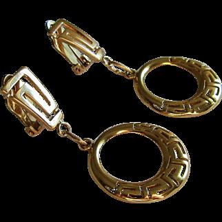 14K Gold -585 European Classic Greek Key Design Dangle Earrings.