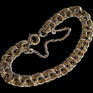 Vintage Gold Filled Triple Link Curb Chain Bracelet.