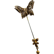 Miriam Haskell Signed Filigree Butterfly Stick Pin.