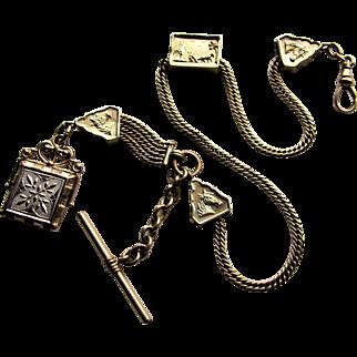Victorian Albert Gold Filled Pocket Watch Chain-Horse Theme.