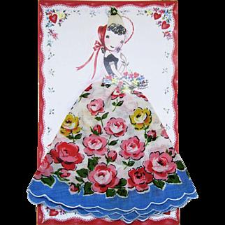 Paper Card Swiss Handkerchief Keepsake. Signed Thelma-Switzerland