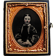 Half Case Tintype Beautiful Young Lady In Civil War Dress-1/9 Plate.