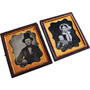 1850 Double Sixth Plate Ambrotypes in Case, Family-Identified