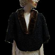 Vintage Black Curly Persian Lamb Fur Cape, Mink Collar.