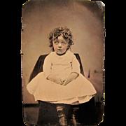 Little Orphan Annie Look Alike Tintype.