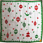 Signed Faith Austin Retro Christmas Linen Hankie with Ornaments- Kimball