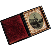 Civil War Era Tintype Full Figure Portrait of Small Boy in 6th Plate Case.