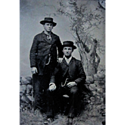 Tintype of Two Gents in Hats, Pocket Watch Chains.