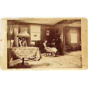 CDV interior Room ~Woman Reading, Sewing Machine, Lamps, Lace, Violin