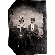 Tintype photograph- African American Man and Lady Companion.