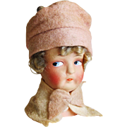 German Paper Mache Doll Head From a Hatstand.