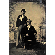 Tintype- Two Men With Political Ribbons, One Man is African American.