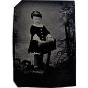 Tintype Photograph of a Little Girl With Attitude, Cute Hat.
