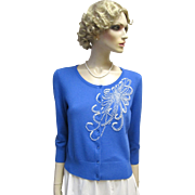 Embellished Faux Pearl Vintage Blue Sweater-Pristine.