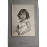 Cabinet Card of Adorable Baby Girl In White Dress- Waterbury, Conn.