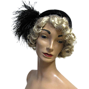 1950's Retro Roberta Bernays Black Velour Cocktail Hat with Feather Plume.
