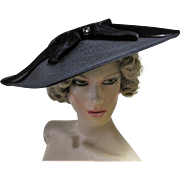 Elegant Black Woven Straw Cartwheel Hat with Velvet Ribbon Bow-1940's