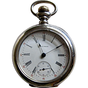 American Waltham Co. Dueber Sterling Silver Pocket Watch 18s Model 1883
