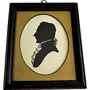 19th Century Framed Ink Silhouette Of Colonial Gentleman.