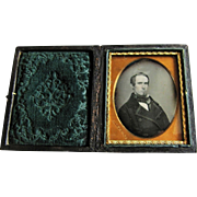 Daguerreotype Portrait Of Gentleman in Leather Embossed Case-Boston