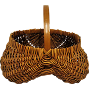 Small Oak Splint and Willow Rib Buttocks Basket- Appalacia.