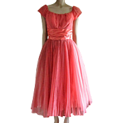 Coral Chiffon and Satin Formal Party Prom Dress-1960's