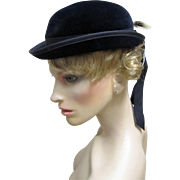 Vintage Velour Navy Blue Bowler Style Hat-Saks Fifth Avenue. - Red Tag Sale Item