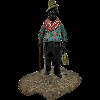 Primitive Black Americana Folk Art Figurine Carving of Ederly Man With Lantern & Cane.