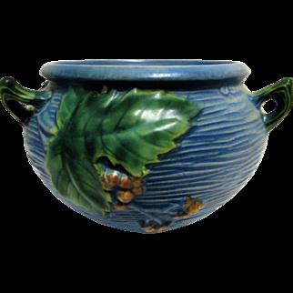 Roseville Pottery Bushberry Blue Hanging Basket 465-5-1941.