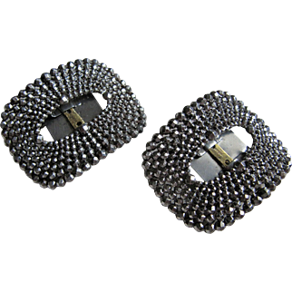 Pair Of Art Deco Steel Micro- Bead Shoe Buckles with Back Clips- France