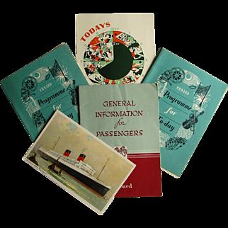 Cunard R.M.S Mauretania Ship- Passenger Booklet, 3 Programs & Postcard- 1954.