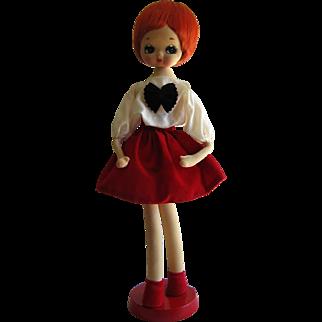 Herman Pecker 1960's Mod Big Eye Poseable Jan Doll- Japan.