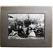 Cabinet Card Photograph- Family Group Gathering in The Garden 1890.