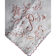 Vintage Embroidered Madeira White Wedding Hankie Monogram P ~Label
