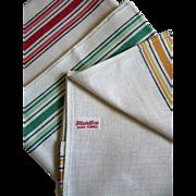 3 Unused Martex Mid Century Retro Striped Rainbow Tea Towels