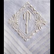 Madeira Fine White Linen Hand Monogrammed ''T'' Men's Hankie/ Handkerchief.