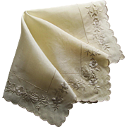 1920's Ivory Silk Wedding Handkerchief Embroidered with Roses.